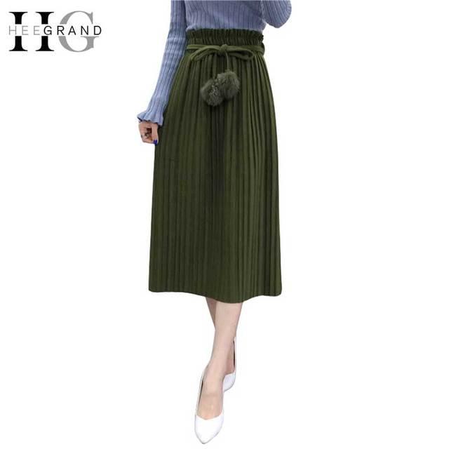 HEE GRAND Saia Longa Autumn Skirts Pleated Faldas 2017 Fashion Solid Pom Pom Jupes Black Mid-Calf Long Sashes Women Skirt WQC441