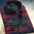 2017 autumn  winter Men's shirts tops fashion loose Leisure long-sleeved plaid shirt with flannel casual plus size office Style