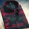 2017 otoño invierno hombre camisas tops moda loose Ocio camisa a cuadros de franela de manga larga ocasional más tamaño Estilo de la oficina