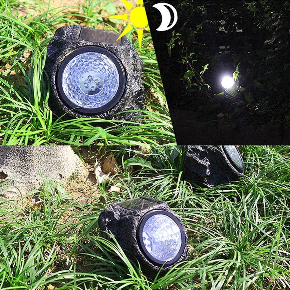 unids led solar luces de roca de piedra material de resina decorativa lmpara de