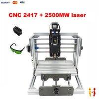 Cnc 2417 grbl制御diy高出力レーザー彫刻cncマシン3軸ウッドルータで2500メガワットのレーザー