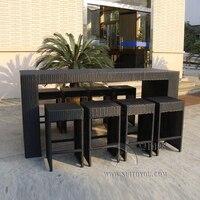 7 шт. handweaving дизайн мебель из ротанга Ресторан открытый бар мебель стул барный стол и стул отдыха морской транспорт