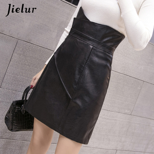 Image 2 - Jielur Mode Slanke Hoge Taille PU Lederen Rok Office Lady Patchwork S XL vrouwen Rok High Street Elegant Schede Zwarte rokken