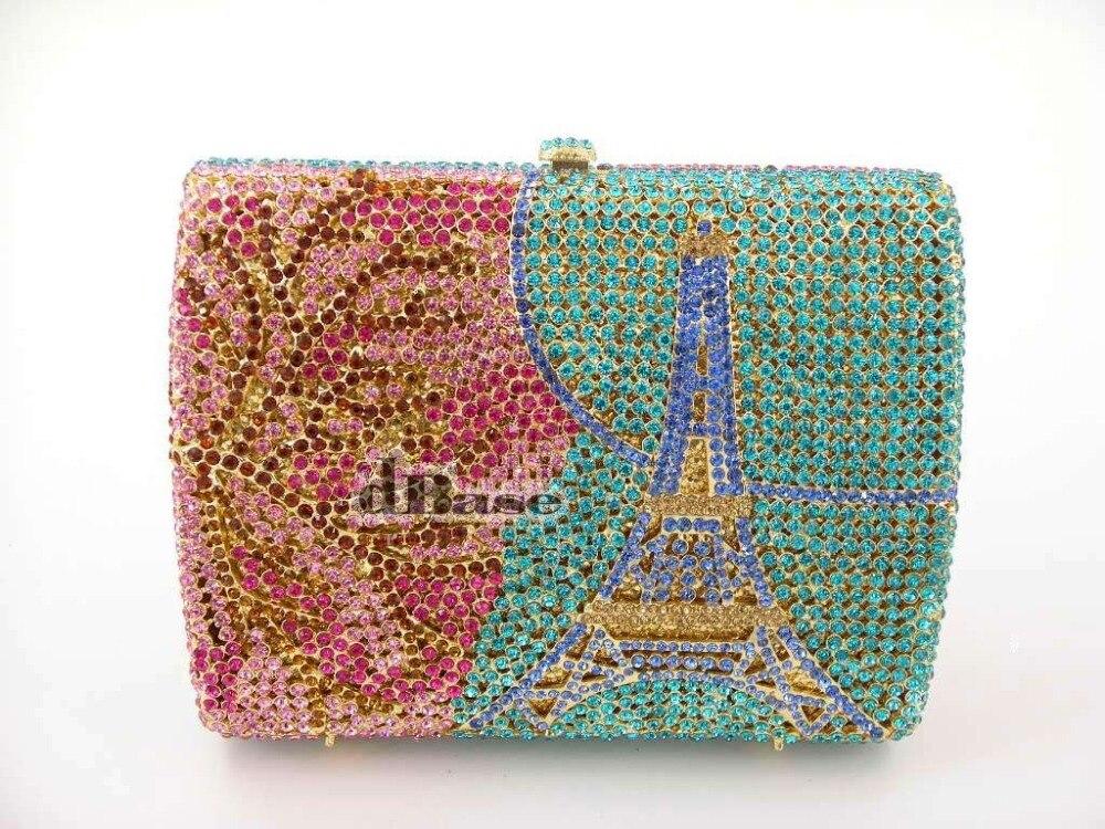 ФОТО color-A Crystal EIFFEL TOWER Paris Lady Fashion Wedding Bridal hollow Metal Evening purse clutch bag handbag