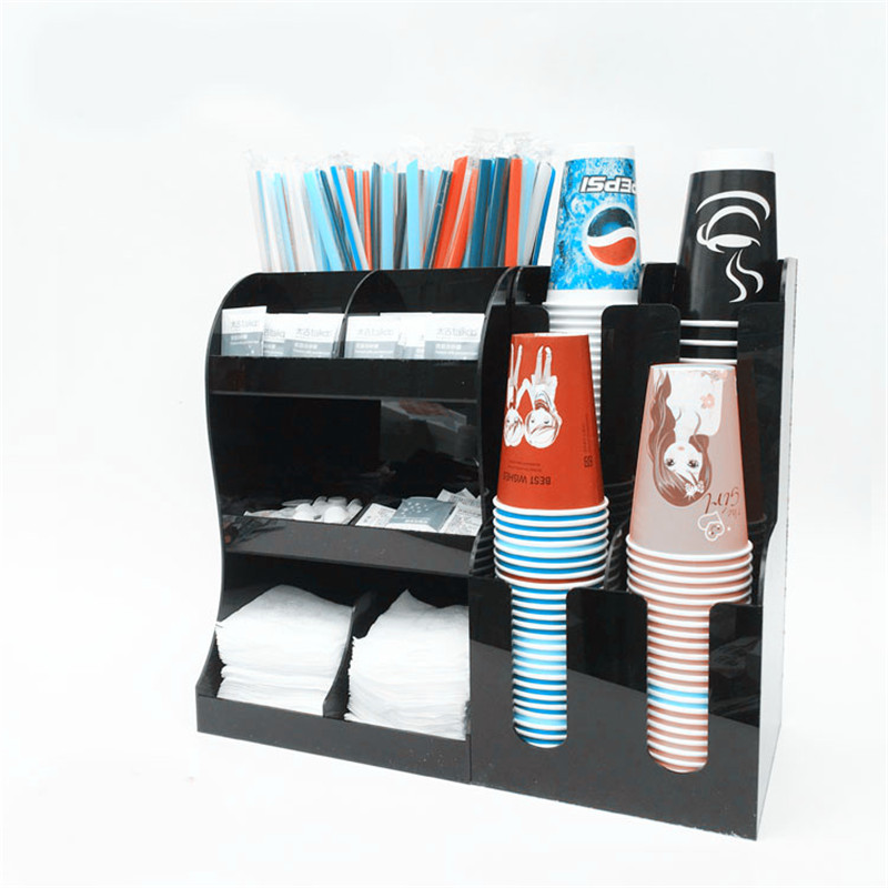 Cup & Lid Dispenser Organizer Acrylic Cup Holder Bar Storage Box Paper Cup Plastic Shelf Coffee Tea Cup Rack Cocktail Box