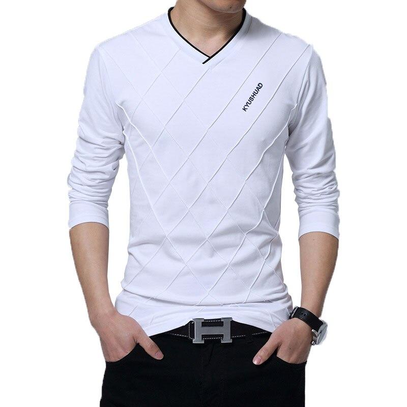 2019 Mens Spring Casual T-shirt Fashion Slim Long Sleeve V Neck Fitness T-shirts Tops & Tees Shirt Homme Custom Tshirt Stylish