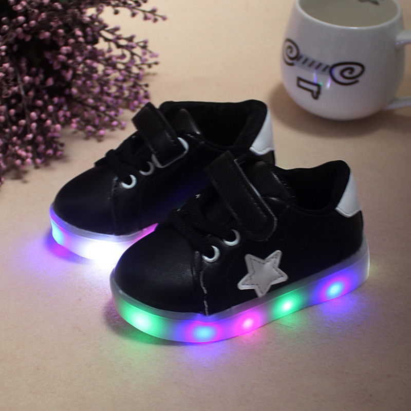 10, Black Children Shoes With Light Chaussure Led Enfant Spring Autumn New Stars Led Girls Shoes Sports Breathable Boys Sneakers Shoes