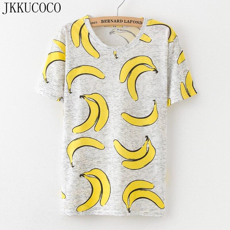 JKKUCOCO 2018 Neueste Frauen T-shirt eis/ananas/banane Druck t Kurzarm Oansatz Beiläufiges t-shirt Frauen baumwolle t-shirts