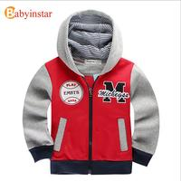 Spring And Autumn Thick Coat Red Green Two Colors Hoodies Boys Sport Sweatshirts 2015 New Style