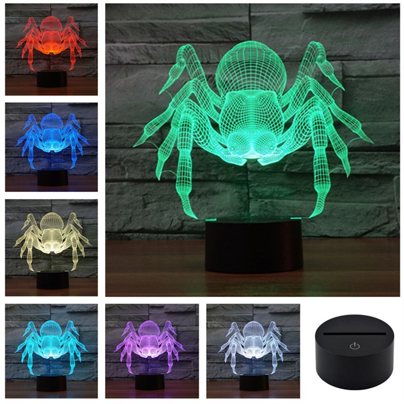 AUCD 3D Colorful USB Frozen Spider Household Bedroom Office LED Table Lamp Child Remote USB Night Lights Christmas Gift 3D-TD132