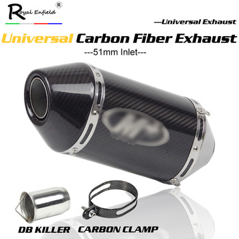 Universal moto rcycle carbono silenciador tubo de escape moto de 250cc 500cc 600cc 750cc 800cc MT09/07/M4 Z750/800 R6 db asesino