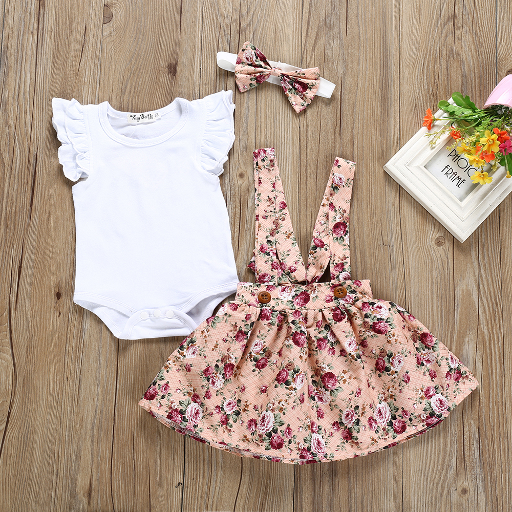 Pudcoco Summer Newborn Baby Girl Clothes Solid Color Fly Sleeve Romper Tops Flower Print Strap Skirt Headband 3Pcs Outfits Set