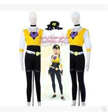 2016 Venta Caliente Cosplay del Anime Pokemon Pocket Monster Pokemon Juego Go Go Equipo Entrenador Entrenador Uniforme Paño Amarillo de Las Mujeres
