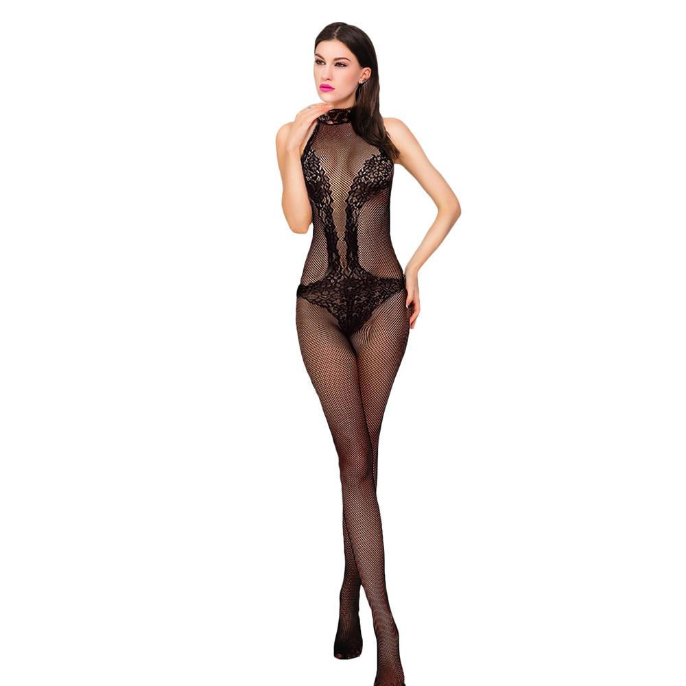 Women Sexy Lingerie Babydoll One Size Fishnet Rhinestone Body Stocking Bodystocking