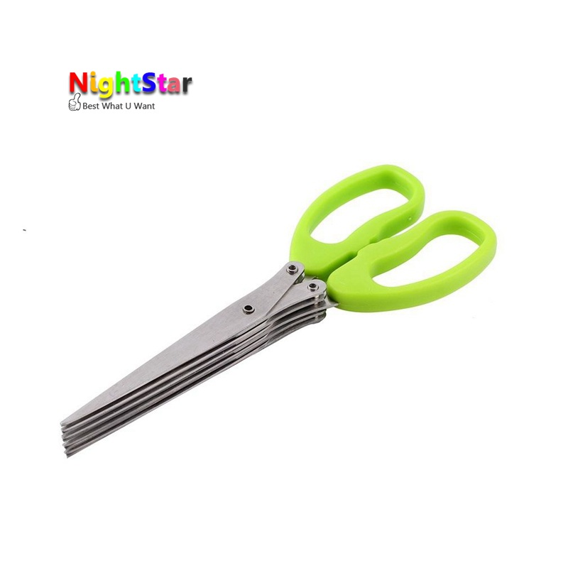 купить Multi-functional Stainless Steel Scissors For Kitchen Knives 5 Layers Sushi Scissors Shredded Scallion Cut Herb Spices Scissors по цене 89.76 рублей
