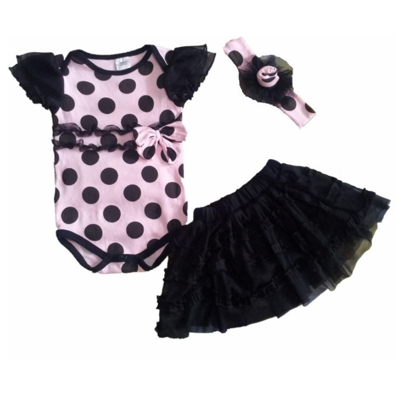 Polka Dot Baby Girls Clothes Lace Layer Dress Bodysuit baby clothing girl skirts bebes jumpsuits