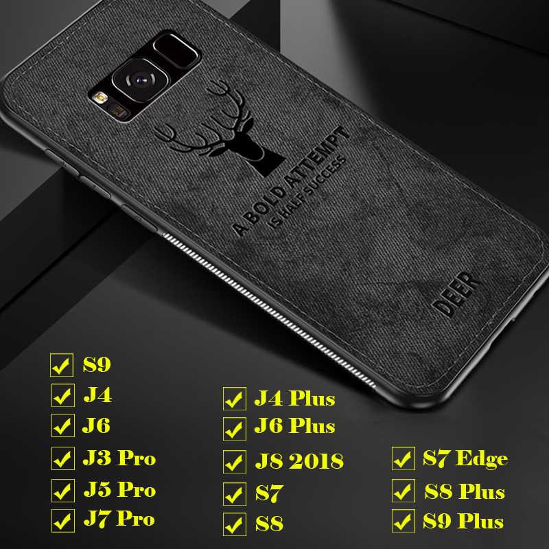 لسامسونج غالاكسي S9 S7 حافة S8 لينة القماش الخلفي الغزلان حالات غطاء كامل جراب هاتف Glaxay J3 J5 J7 برو j4 J6 زائد J8 2018 9 s J 8