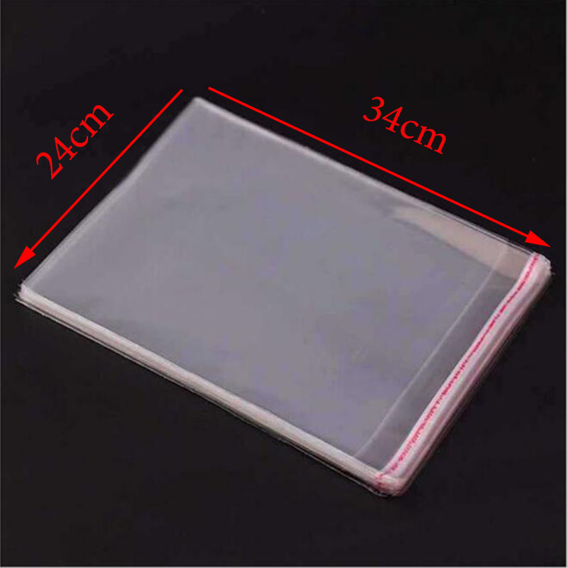 24cm * 34cm Plastic Bag OPP Bag Transparent Plastic Gift Clothes Packaging Cellophane Bag Office Data Storage Tool 100pcs