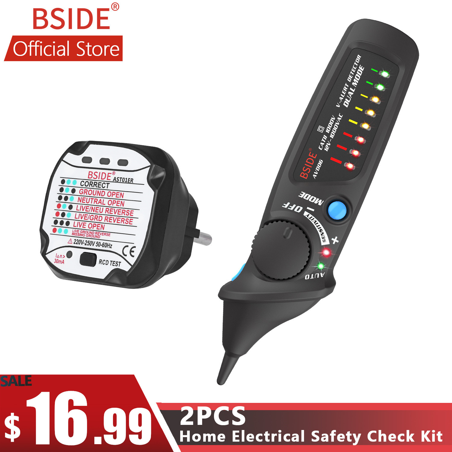 BSIDE Dual Mode Non-Contact AC Voltage Detector Tester + Socket Wall Power Outlet Tester Circuit Polarity Breaker Finder KITBSIDE Dual Mode Non-Contact AC Voltage Detector Tester + Socket Wall Power Outlet Tester Circuit Polarity Breaker Finder KIT