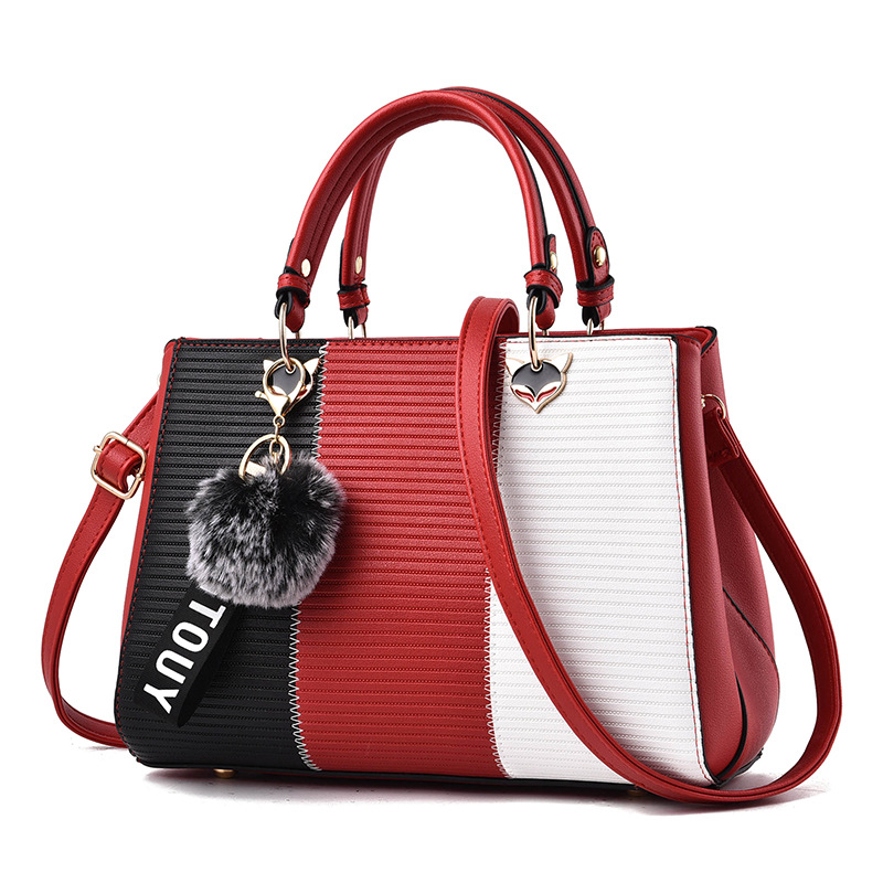 New Arrival Women Messenger Bag patchwork Top Handbag Ladies  shoulder woman bags handbags women famous brands With Hairball 2017 boston women messenger bags inclined shoulder ladies hand bag women leather handbag woman bags handbags women famous brands