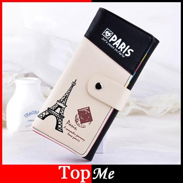 Brand women wallets Soft PU leather Patchwork Paris Tower Pattern lady purses  handbags woman hasp Long