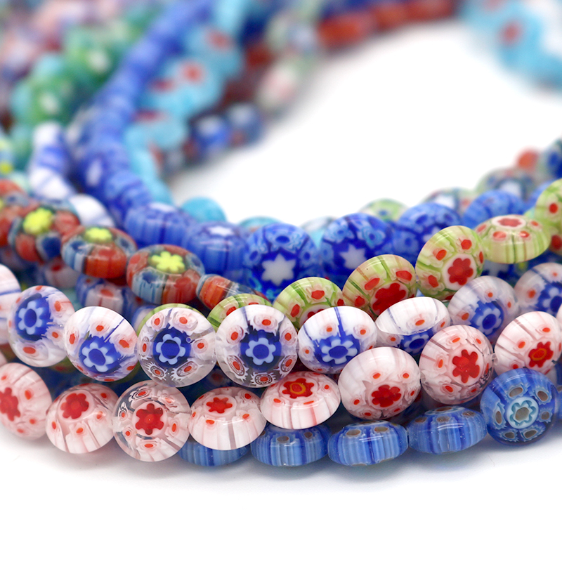 50pcs 8x3.5MM Flower Glass Beads Spacer Crystal Lampwork Millefiori Charms Beads Loose for Bracelet Jewelry Making & DIY Craft(China)