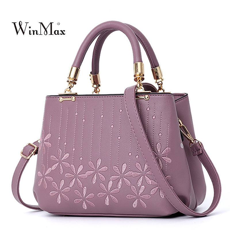 2018 New Women Embroidery Handbag PU Leather Shoulder Bags Ladies Large Tote Bag Fashion Crossbody Bags For Girls Bolsas Purple