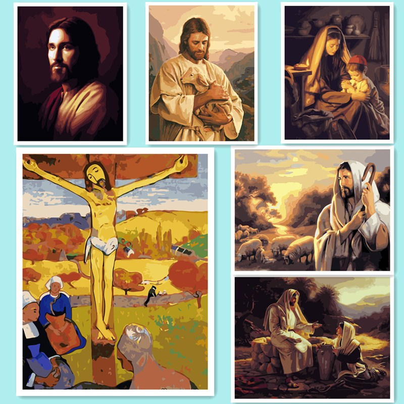 Diy digital oil painting by numbers paint drawing coloring by number canvas hand painted modular picture wall decor Jesus DY610
