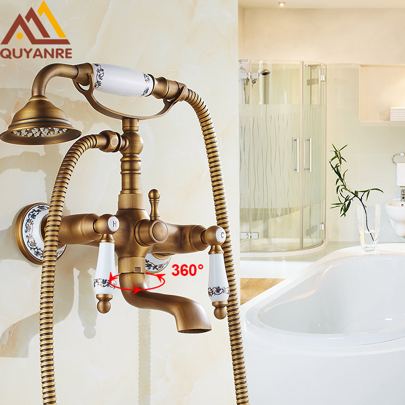 Wall Mounted Bath & Shower Faucet Antique Brass Dual Handle Dual Holes with Tub Filler Hot and Cold Telephone Style Faucet wall mounted single handle bath shower faucet with ceramic handshower antique brass finish