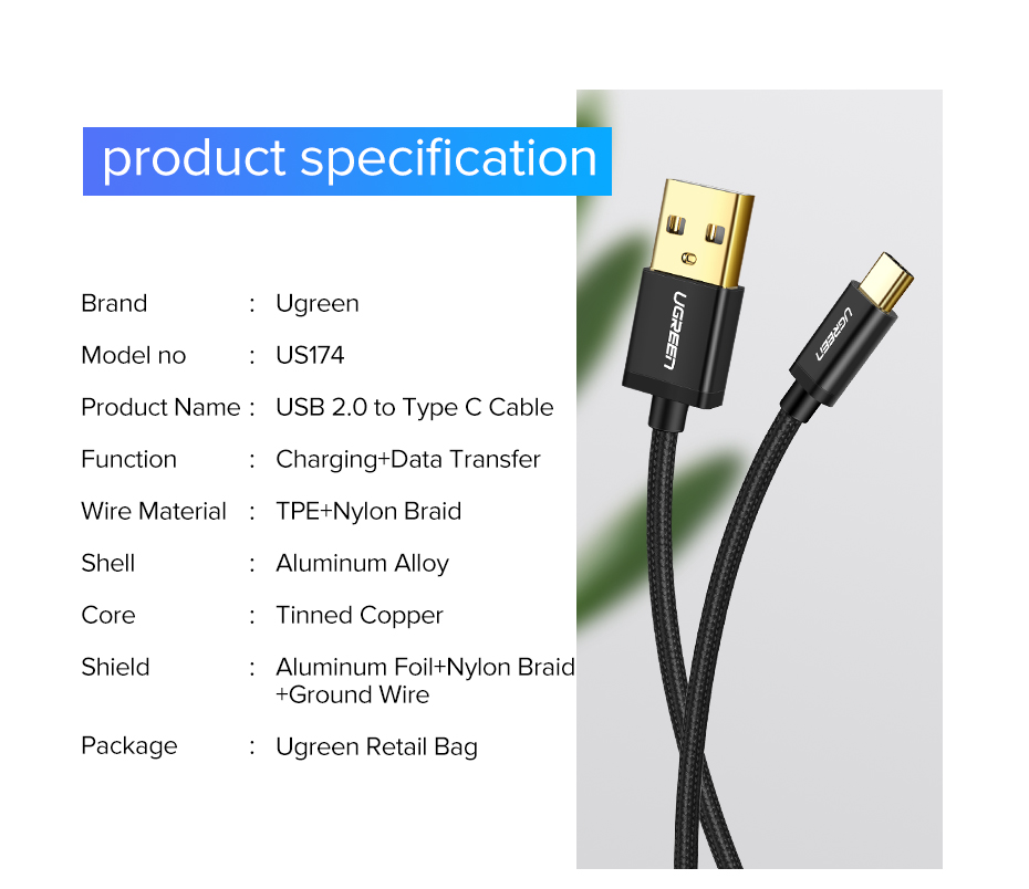 Ugreen USB Type C Cable And Mobile Phone Charging Cable For Fast Charge 16