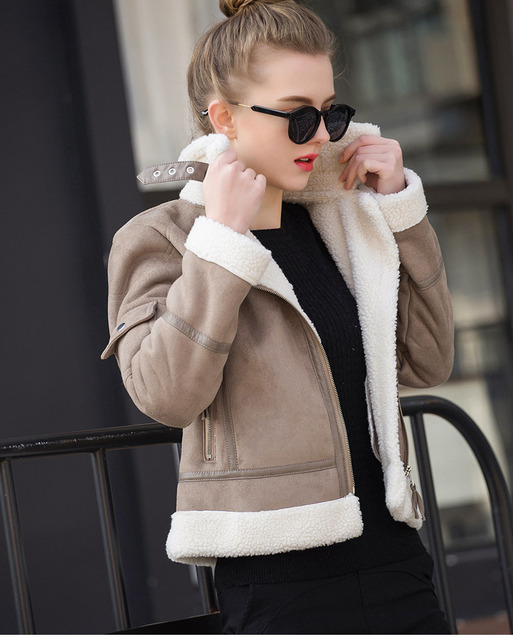 Shearling Thick Sued Motorcycle Coat