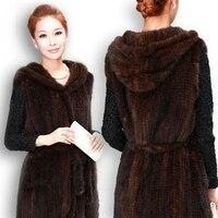 Новый натуральный вязаный норковый Меховой жилет с капюшоном норковый меховой жилет теплое зимнее меховое пальто