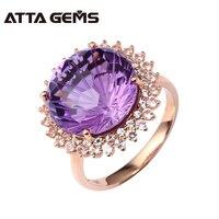 Природный аметист Настоящее 18 К розовое золото Для женщин обручальное кольцо 13 карат Аметист фейерверк резки кольцо с бриллиантом ювелирны