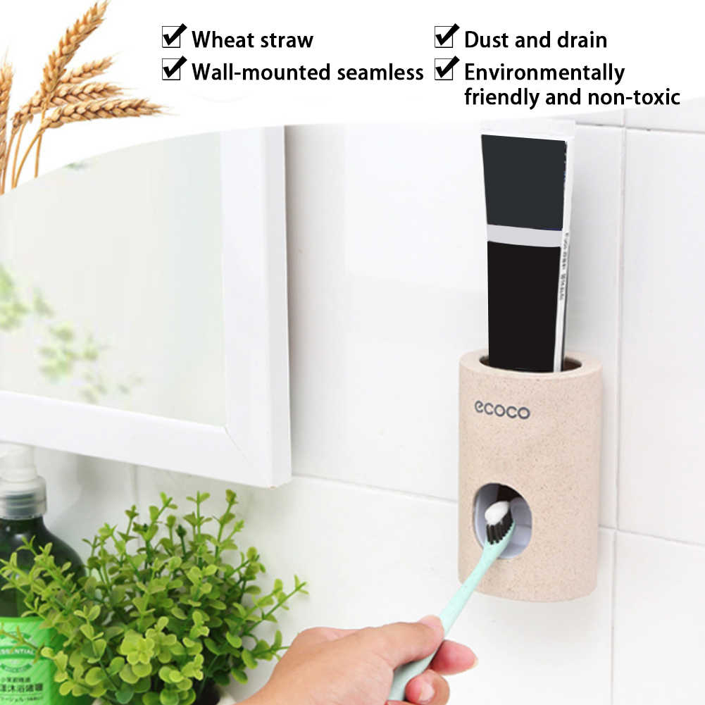 Automatyczne odporna na kurz dozownik pasty do zębów szczoteczki do zębów stojak z uchwytem na ścianę akcesoria łazienkowe zestaw pasty do zębów wyciskacz do zębów