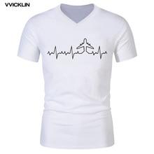 Пилот самолета сердцебиение Забавный принт футболка мужская хлопок короткий рукав Пилот самолета v-образным вырезом футболки мужская летняя уличная