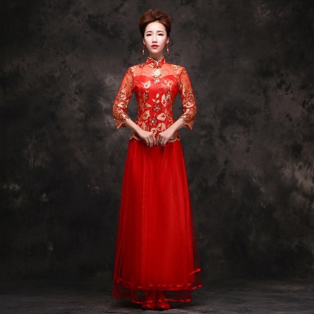 30ef22410 Red Sexy Wedding Dress Traditional Gown 2017 New Bride Long Chinese Dress  Robe Chinoise Qipao Woman Party Dresses Oriental