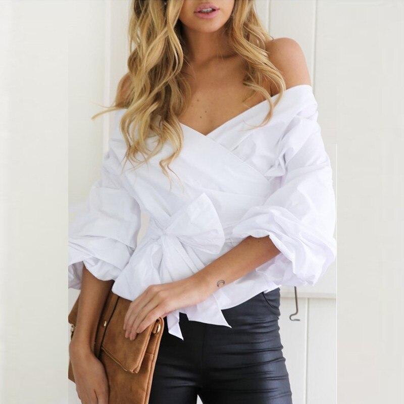 2017 off shoulder top sexy v neck white blouses women for Best white t shirt women s v neck