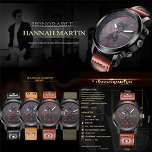 Men Watch Fashion Hannah Martin Men Date Stainless Steel Leather Analog Quartz Sport Wrist Watch DropShipping Free Shipping #30