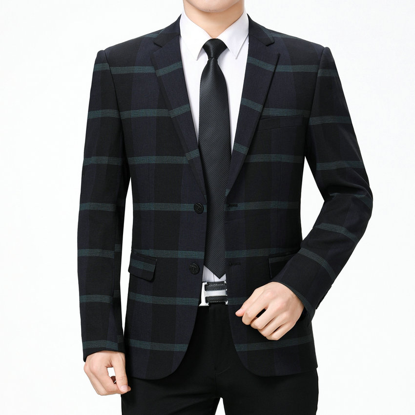 Man Smart Casual Blazer Red Green Striped Jacket Suit Men Notched Collar Blazers Men Elegance Outfit Slim Fitting Mans Garment