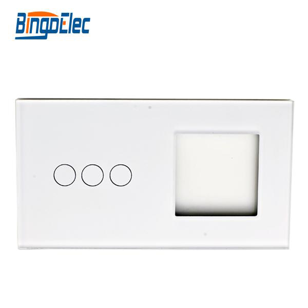 2fold EU standart DIY part 86*157mmToughened Glass 3button switch panel and one socket glass frame планшет acer switch one 10 z8300 532gb