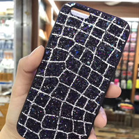 Irregular Grid 3D Jewelled Glitter Hard Plastic Silicone Mobile Phone Cases For IPhone7 7Plus 6 6S