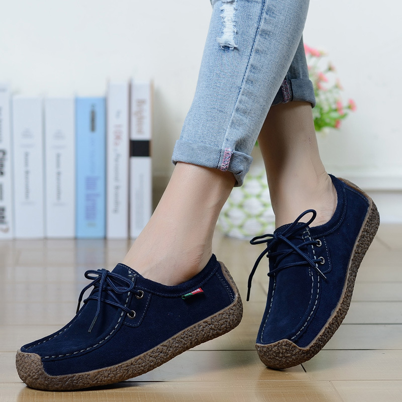 Women's Flats Summer Leather Loafers Casual Shoes Lady Driving Flat Moccasins Lace Up Round Toe Chaussure Femme Size 35-42 цена