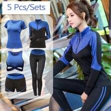 Yoga Suit High waist pants+shorts+sexy bra+t shirt+coats women 5 piece sets quick dry fitness gym clothing sports