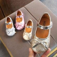 Милые детские сандалии с блестками для маленьких девочек; дышащая удобная обувь с бантом для девочек