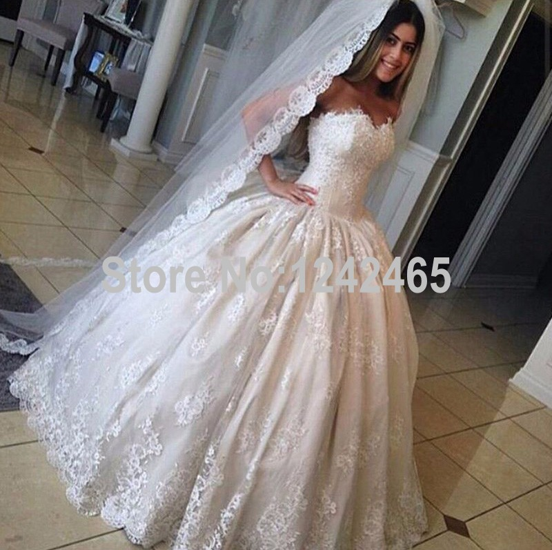 Country Style Ball Gown Sweetheart Wedding Dress With Veil Floor ...