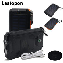 LESTOPON Portable Solar Power Bank External Battery DUAL USB Ports powerbank Charger Mobile Charger For XIAOMI HUAWEI Power bank