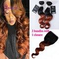 Big Desconto Barato Feixes de cabelo Ombre cor T1B/30 Pacotes Tecer cabelo humano da onda do corpo 2 Pacotes com fecho cabelo brasileiro