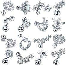 1Pc New Arrival Surgical Steel Tragus Earrings Cartilage Piercing Oreja Ear Stud Helix Moon Heart Sexy Jewelry