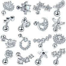 1Pc New Arrival Surgical Steel Tragus Earrings Cartilage Piercing Oreja Ear Stud Helix Moon Heart Earrings Piercing Sexy Jewelry(China)