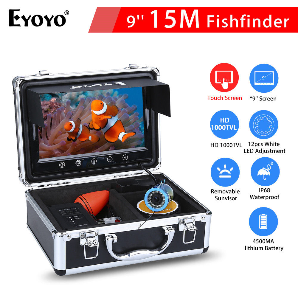 EYOYO 9LCD Touch Screen 15M White LED Adjustment Waterproof Ocean River Sea Boat Fishing Camera Fishfinder Night Vision baricco a ocean sea
